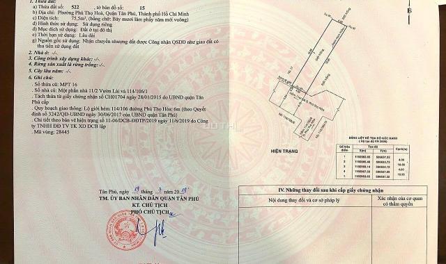 Bán đất ngay UBND quận Tân Phú, 4 x 16m, đường 6m, giá 5,5 tỷ