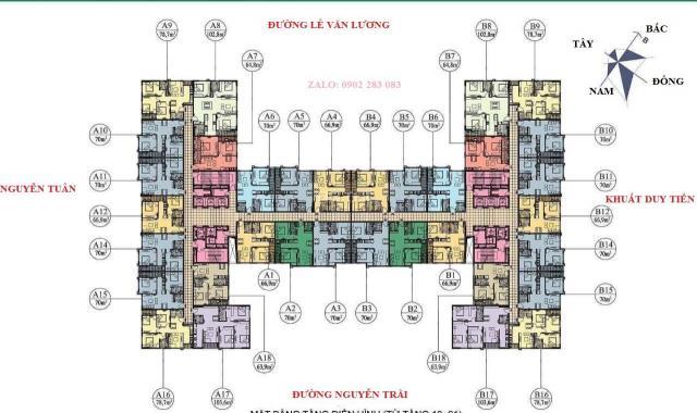Cần bán chung cư 282 Nguyễn Huy Tưởng, 70m2 tầng trung giá 23 triệu/m2, cuối 2019 bàn giao