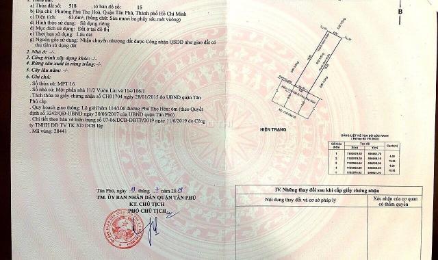 Bán đất có nhà nát HXH đường Vườn Lài, P. Phú Thọ Hoà, Q. Tân Phú