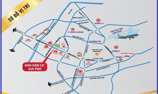 Đất KDC Gia Phú, mặt tiền đường Vĩnh Lộc giao với Tỉnh Lộ 10, giá 20tr/m2, đất thổ cư 100%, CC