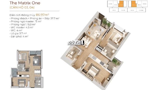 Bán căn hộ chung cư tại dự án The Matrix One diện tích 86m2, giá 46 triệu/m2