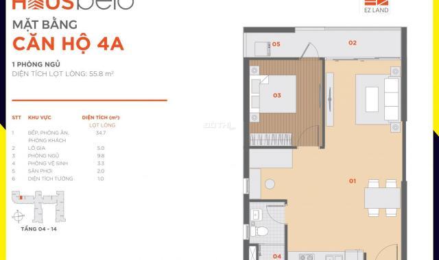Chính chủ bán căn Hausbelo 1PN + 1, giá gốc 1,559 tỷ 0943494338