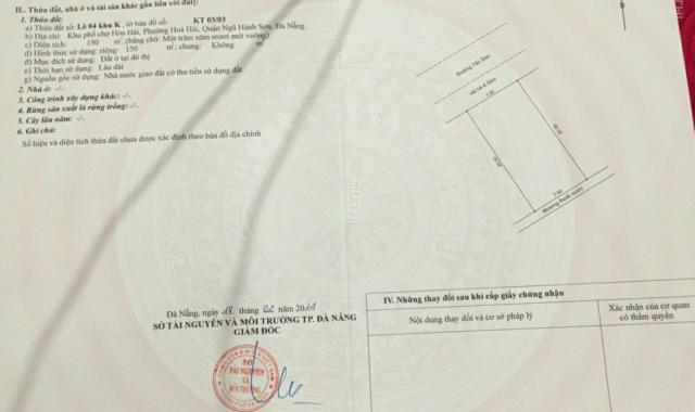 Bán đất tại đường Tây Sơn, Phường Hòa Hải, Ngũ Hành Sơn, Đà Nẵng, diện tích 150m2, 3.6tỷ