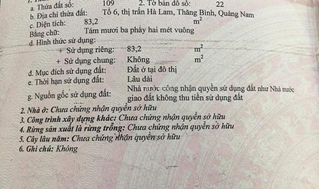 Bán đất đẹp tại số 08 Nguyễn Hiền, TT. Hà Lam, Quảng Nam, giá đầu tư hấp dẫn