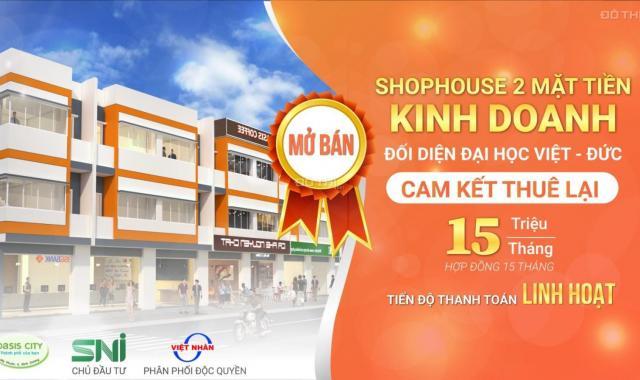 Đầu tư nhanh tay xuống tiền shophouse Oasis City cạnh ĐH Quốc Tế Việt Đức lãi ngay 240tr khi mua