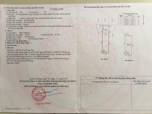Bán nhà 77/9 Nguyễn Đỗ Cung, P. Tây Thạnh: 4x14.6m, sổ hồng chính chủ. Giá: 4.65 tỷ