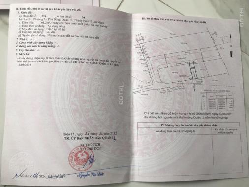 Bán đất giá mềm cho đầu tư đường An Phú Đông 10, Phường An Phú Đông, Q12. DT 62m2, giá 47tr/m2