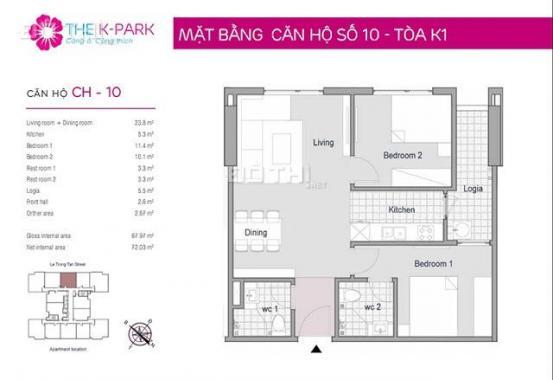 Chính chủ bán căn hộ chung cư tại dự án The K Park, Hà Đông, Hà Nội, diện tích 68m2