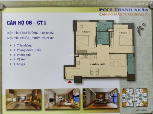 Chung cư cao cấp PCC1 44 Triều Khúc căn góc 2 PN, 76,21m2, view 2 hướng ĐB và TB giá gốc