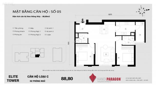 Bán căn 2 phòng ngủ 88.8m2, ban công Đông Nam, full nội thất, nhận nhà ngay