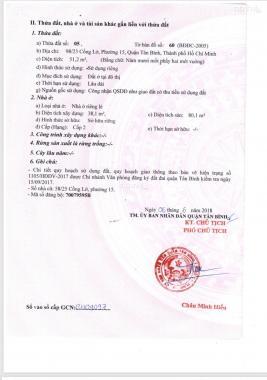 Chính chủ bán nhà 98/23 đường Cống Lở, P. 15, Tân Bình. Giá 4,65 tỷ