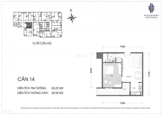 Bán căn 1PN thiết kế thành 2PN Discovery Central 67 Trần Phú 55.22m2 chỉ 3,45 tỷ. LH 0974602525