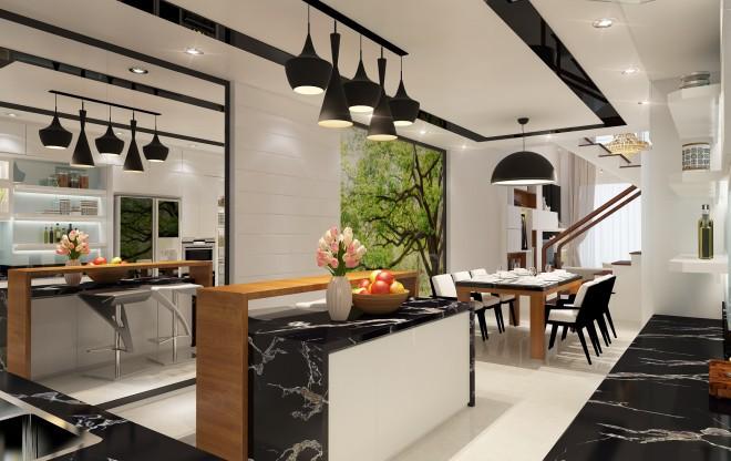 không gian phòng ăn và bếp của căn nhà