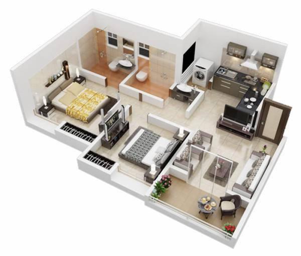 nhà 1 tầng 2 phòng ngủ