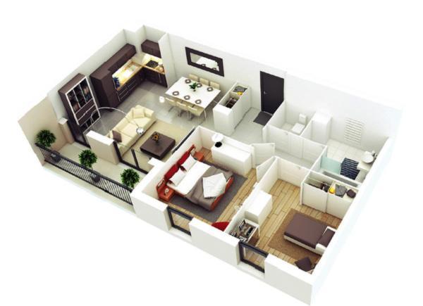 ý tưởng bài trí nhà 1 tầng 2 phòng ngủ