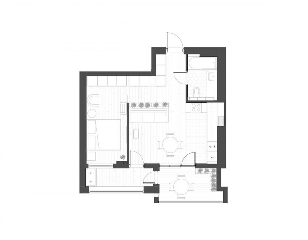 Sơ đồ mặt sàn căn hộ 47m2
