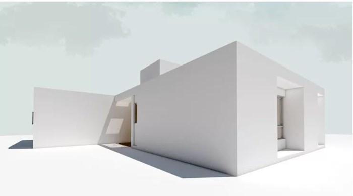Nhà nhỏ dạng hình hộp nên chọn mẫu mái phẳng như này.