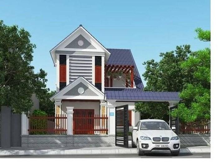 Mặt tiền biệt thự mái Thái hút mọi ánh nhìn nhờ sự kết hợp tinh tế giữa các tông màu đỏ, đen, trắng.