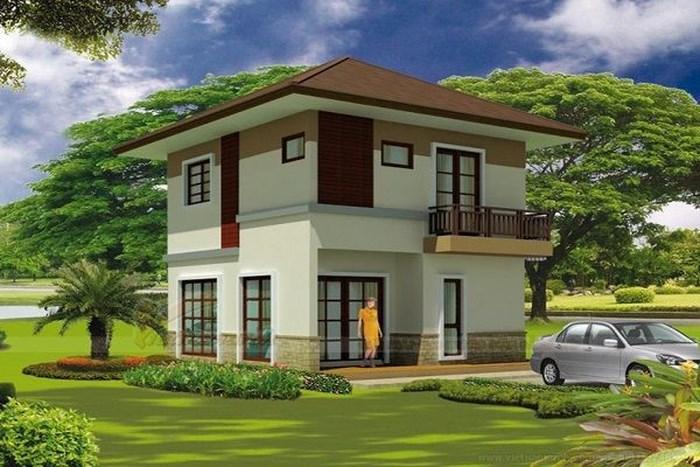 Mẫu nhà mái Thái 2 tầng có thiết kế hiện đại