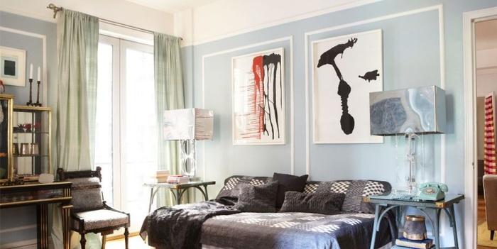 Kiểu rèm có tông màu hài hòa với sơn tường phòng ngủ