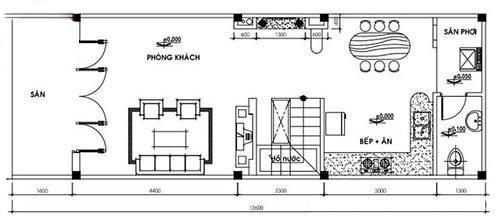 Bản vẽ phác thảo nhà cấp 4 có gác lửng 4x12m