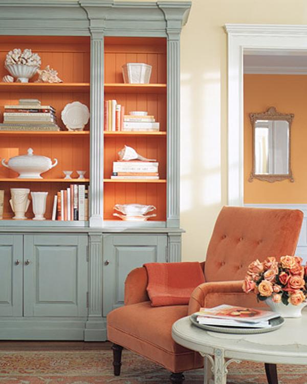 Sự kết hợp ăn ý giữa màu cam và xanh dương nhạt