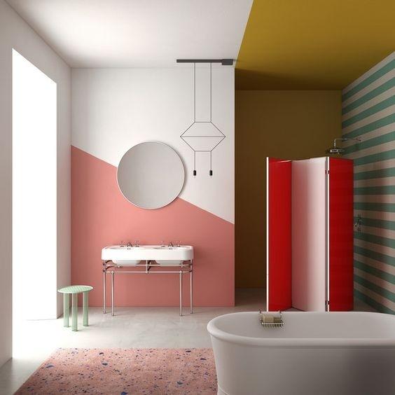 Phòng tắm rực rỡ sắc màu