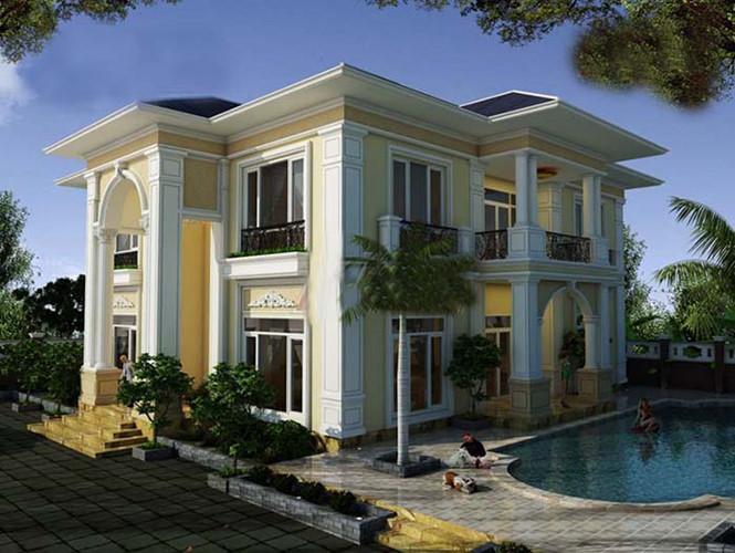 nhà vuông 2 tầng theo phong cách kiến trúc tân cổ điển