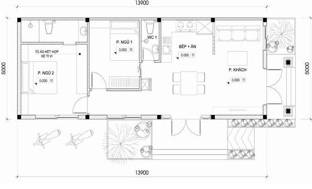 Thiết kế nhà cấp 4 mái Thái đơn giản, tiết kiệm chi phí