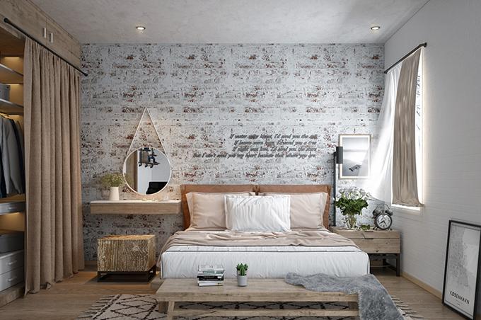 phòng ngủ phong cách Vintage mộc mạc