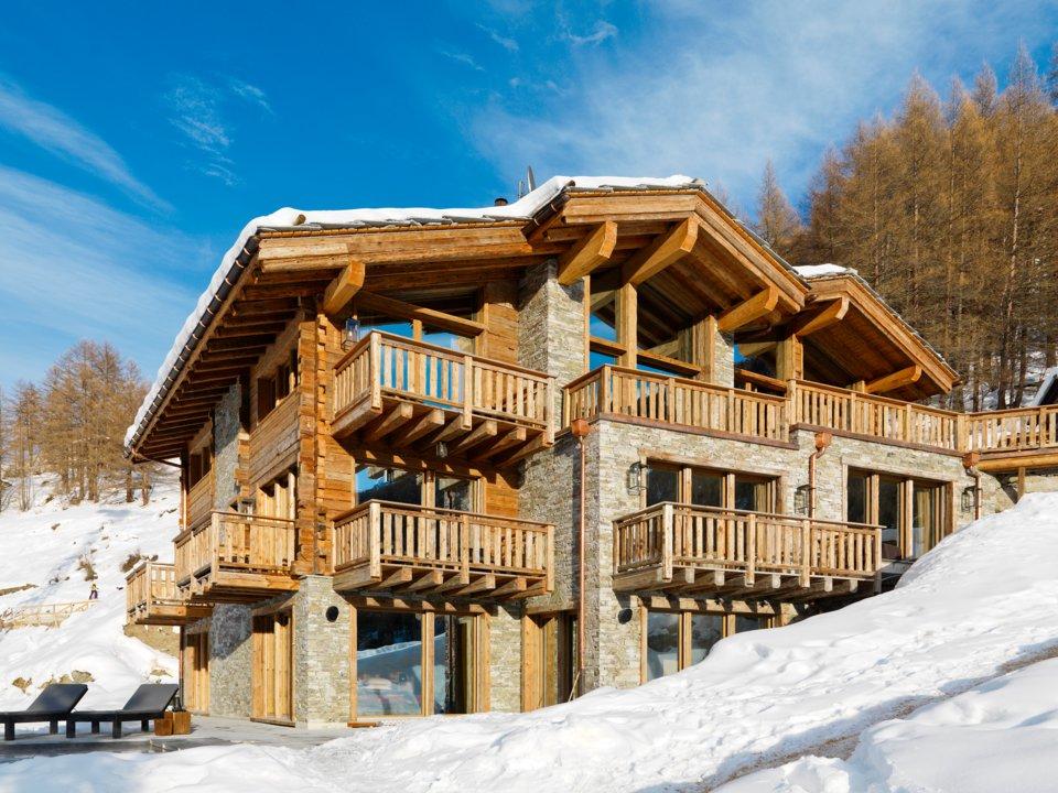 nhà gỗ trượt tuyết