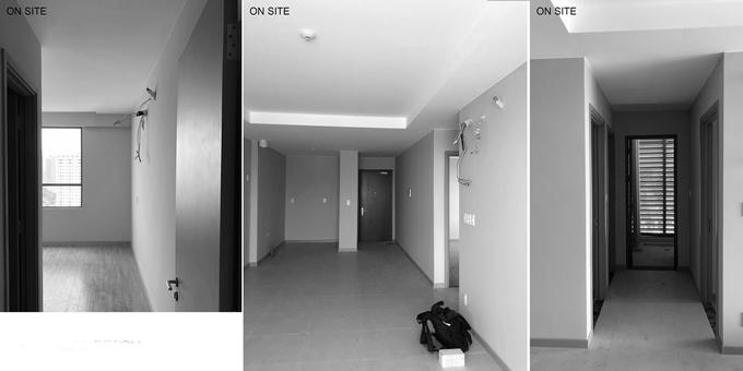 Cửa kính trượt khiến các phòng trong căn hộ 80m2 như