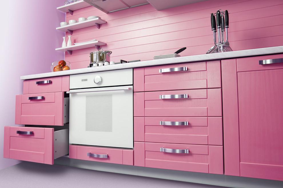 Trang trí phòng bếp với tông màu hồng ngọt ngào