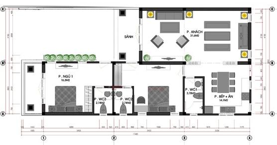 Tư vấn bố trí mặt bằng nhà cấp 4 mái Thái có sân để xe