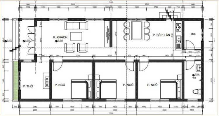 Tư vấn thiết kế nhà cấp 4 mái Thái 3 phòng ngủ trên diện tích 63m2