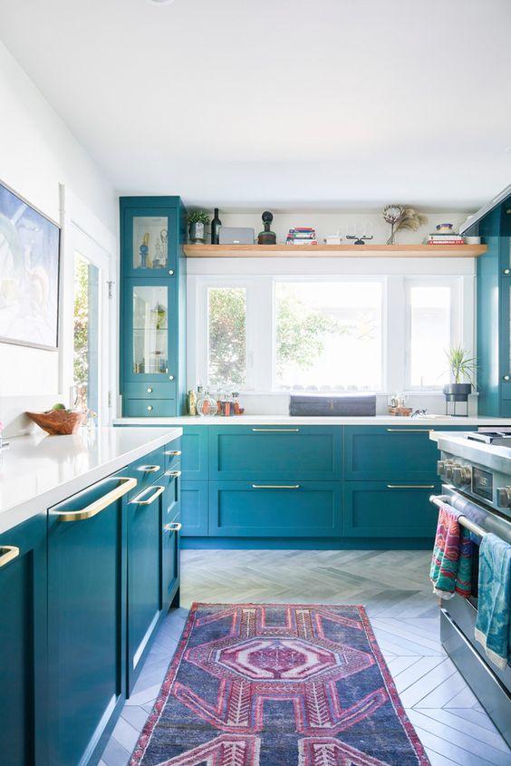 tủ bếp xanh sáng
