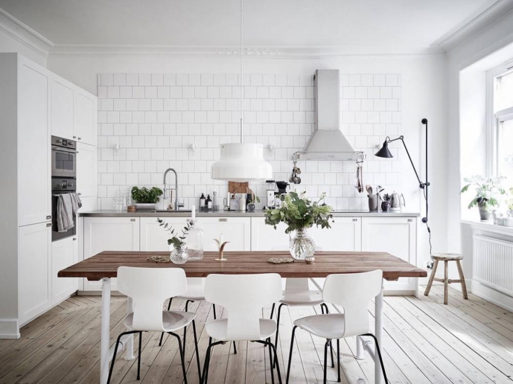 khu bếp nấu kết hợp phòng ăn