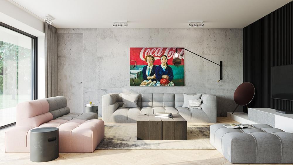 Ấn tượng với ngôi nhà sử dụng tường bê tông làm điểm nhấn phá cách