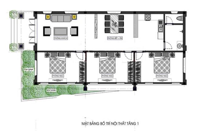 Mẫu nhà cấp 4 mái Thái diện tích 80m2 dành cho gia đình trẻ