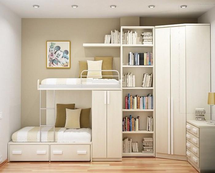 giường ngủ liền giá sách và tủ quần áo