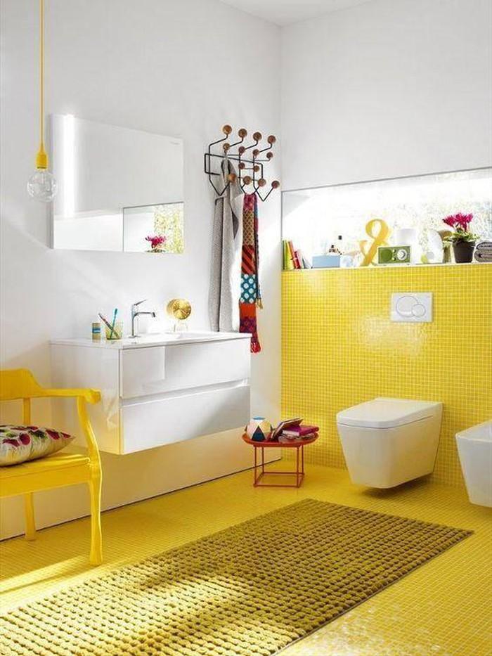 gạch ốp tường bóng màu vàng tươi sáng