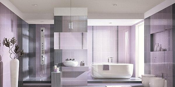 phòng tắm màu tím oải hương
