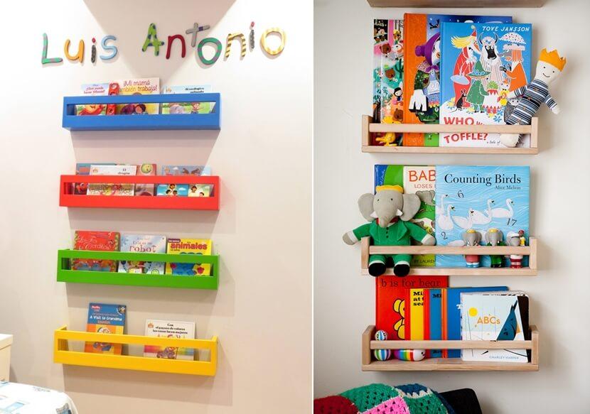 giá sách màu sắc gắn tường