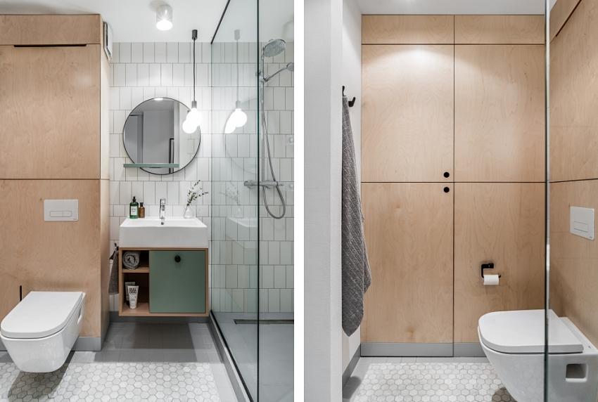phòng tắm trong căn hộ 46m2