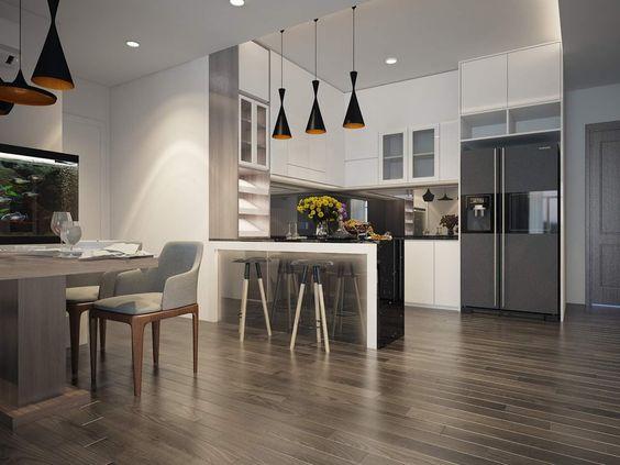 Khu bếp nấu và phòng ăn được thiết kế trong cùng một không gian