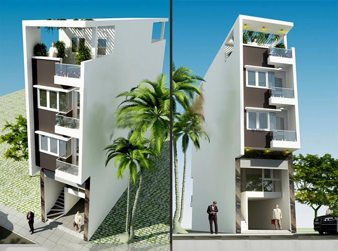 Tư vấn thiết kế nhà phố 4 tầng 1 tum để ở kết hợp kinh doanh