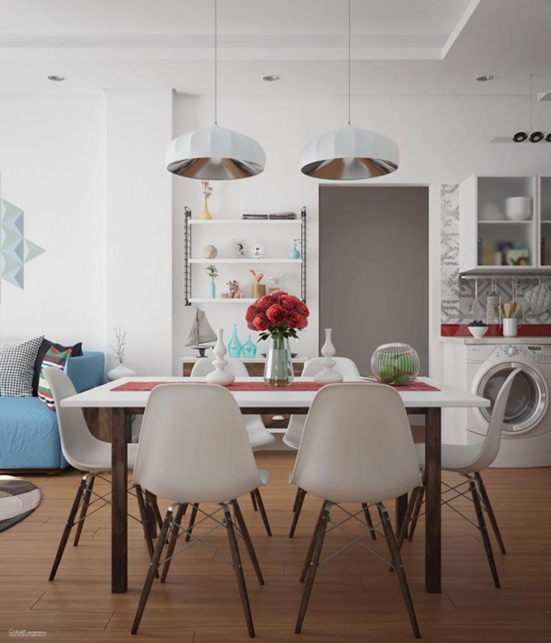 mẫu phòng ăn liền kề phòng khách