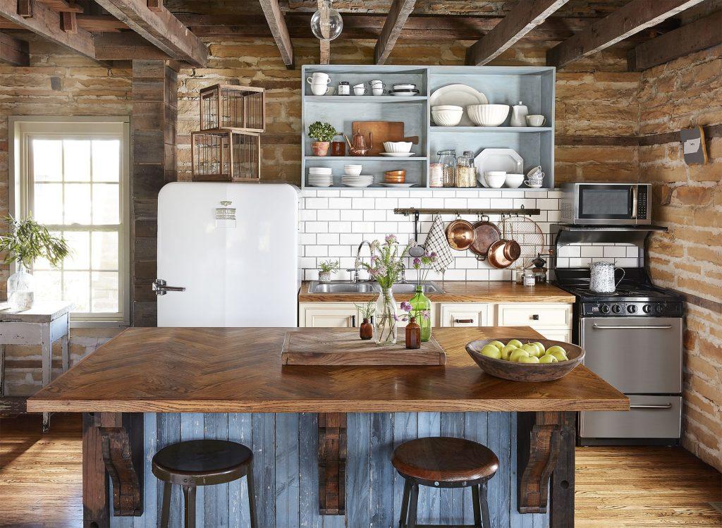 bề mặt đảo bếp bằng gỗ