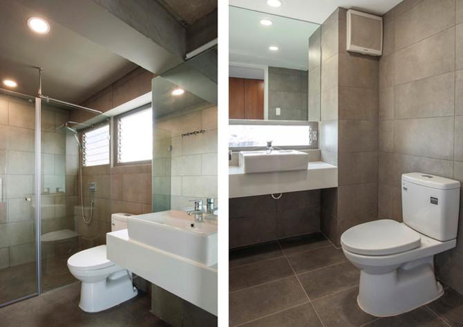 Phòng tắm trong căn hộ có 3 tầng thông nhau