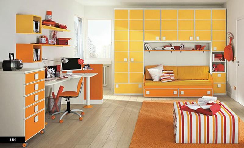phòng của trẻ màu cam chủ đạo